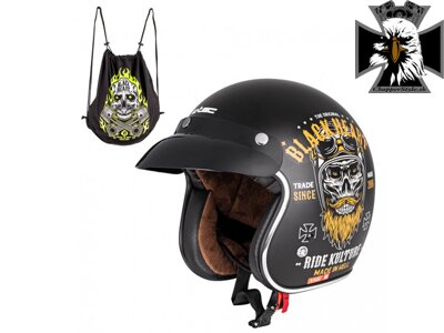 Moto prilba W-TEC Kustom Black Heart - Ride Culture