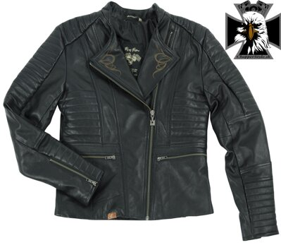 RUSTY PISTONS RPJAW16 CE LIVONIA WOMEN BLACK LEATHER JACKET